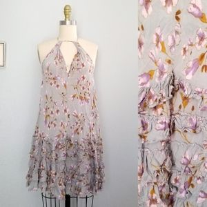 Free people floral halter mini dress